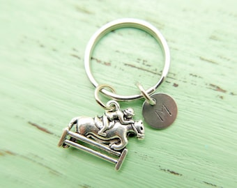 Horse riding initial Keychain personnalized stainless steel monogram Keyring
