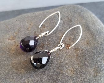 Teardrop Faceted Amethyst Earrings Dark Purple Gemstone Earrings Dangle Earrings Sterling Silver Ear Wires  Boho Chic by LizzieTishBoutique
