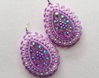 Beaded Purple Earrings