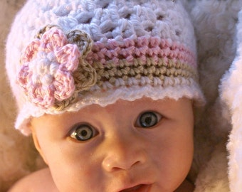 Baby Girl Hat Crochet Pattern for Ebeth's Princess Beanie - sizes from newborn to 4T digital