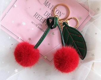 Cute Cherry Fur Ball Keychain Mink Fur Pompom Bag Charm Pendant Women's Bag Bugs