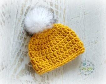 Mustard Chunky Hand Crochet Knitted Baby Beanie Hat Bonnet Cap 0-3 months