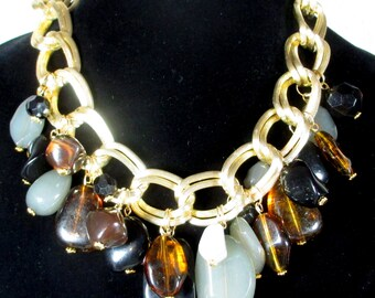 Vintage Chunky Lucite Necklace, Chunky Double Chain Necklace with Huge Simulated Semi Precious Opaque Stones,