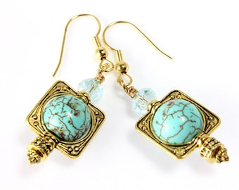 Turquoise Magnesite and Crystal Earrings, Antique Gold, Dangle Earrings, Bead Frame