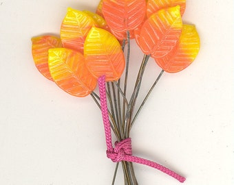 12 Vintage Orange & Yellow Glass Leaves On A Wire