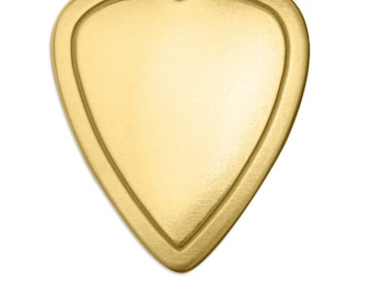 Brass Stamping Blank-Border Guitar Pick Impressart 1.25 (1 1/4) inch 18g Metal Stamping Supplies by Metal Supply Chick-3 Pack