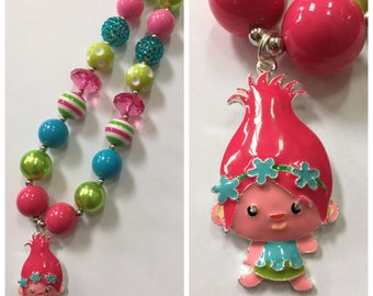Troll Chunky Bead Necklace, Pendant Chunky Necklace, Bubblegum Necklace, Blue, Green & Pink Color Necklace