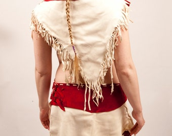 35% off Red and white leather skirt and top fringe deerskin Sale fantasy warcraft costume woman armor native american inspired pagan shaman