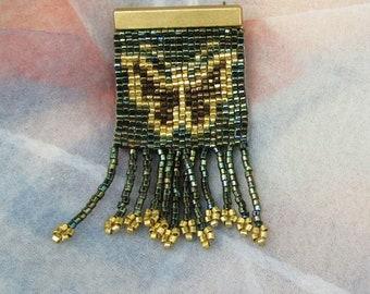 Beaded Butterfly Brooch Pin, Roaring 20's, Flapper Era, Antique, Great Gatsby, Downton Abbey