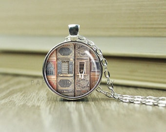 Library Necklace - Library Jewelry - Book Photo Necklace - Book Lover Necklace  - (B3352)