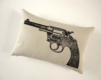 Vintage Colt Revolver Gun silk screened cotton canvas throw pillow 12x18 black