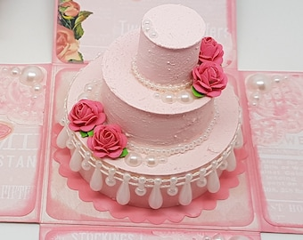 Shabby Chic Wedding Cake - Exploding Box Card