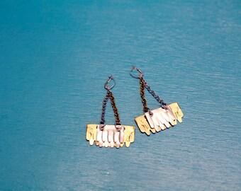 SALE Disco Dolly Reclaimed Metal Scale Earrings // Handmade // OOAK