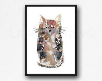 Tabby Cat Print Watercolor Painting Art Print Tabby Cat Art Print Wall Art Cat Lover Gift Art Print Wall Decor Unframed