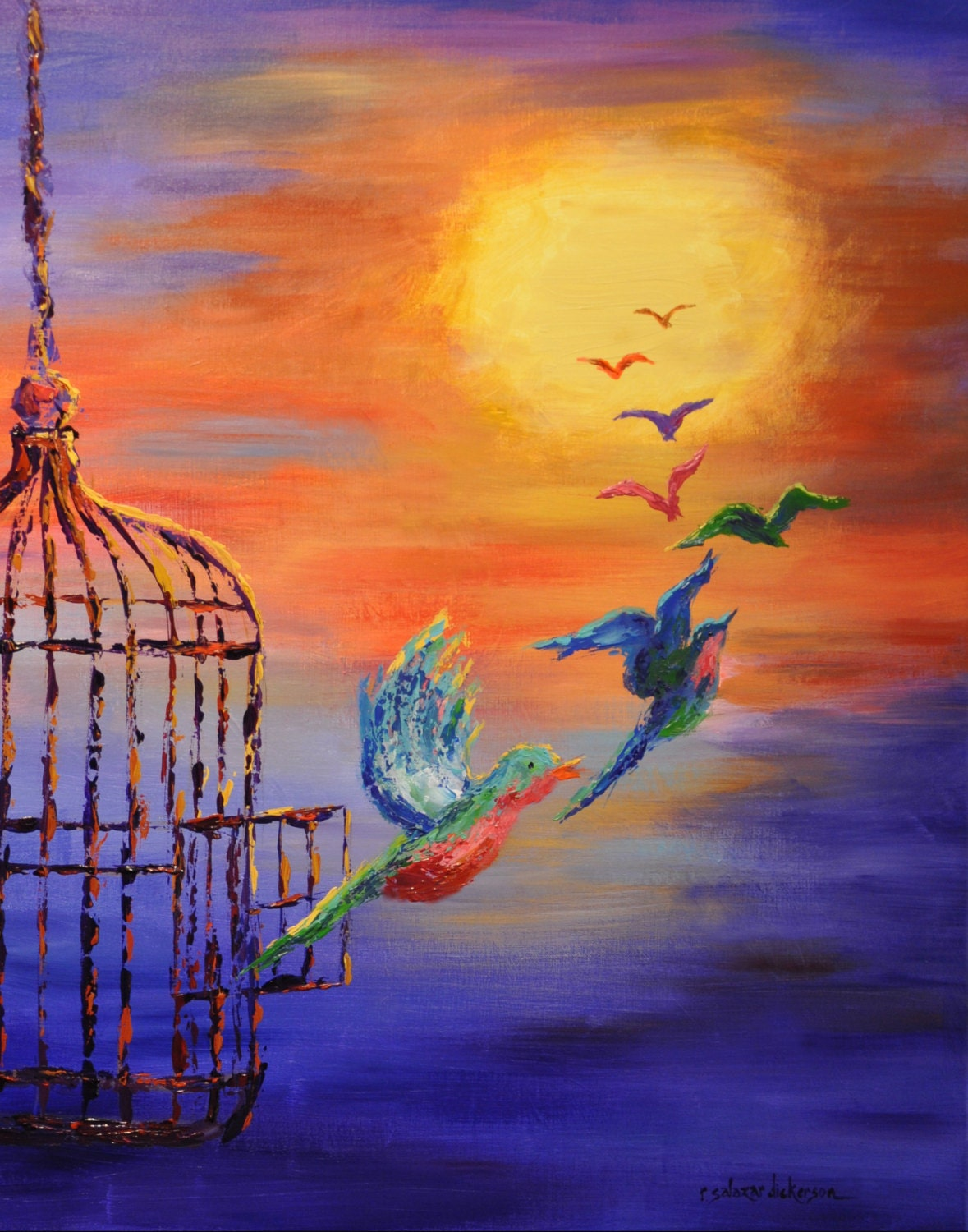 Birds of Freedom Colorful Birds Free At Last Poster Art