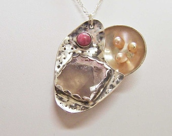 Necklace-Pendant- Abstract Sterling Silver with Tourmaline, Rhodonite, and Freshwater Pearls