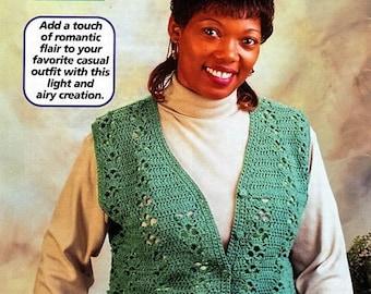 Crochet Lacy Green Vest Pattern, Weekend Vest Pattern- Digital Download