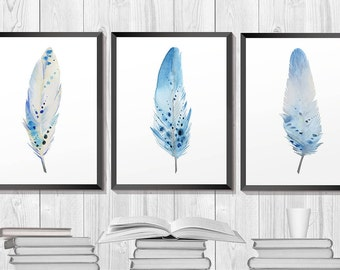 Feather Watercolor. Feather art. Set of 3 prints. Blue Feathers. Set Feathers. Aztec tribal art. bohemian decor. wall art.  Home decor.