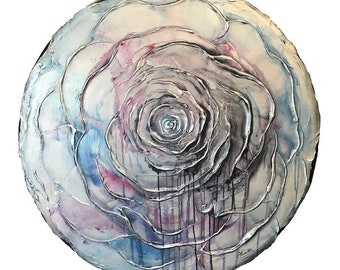 Large Abstract Plaster Rose Flower Painting in Silver, Dark Gray, Navy Blue, and Shades of Red and Blue - Original Acrylic Art on Canvas
