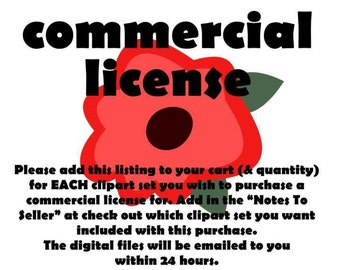 Commercial License AND One Clip Art Set: No Credit Required