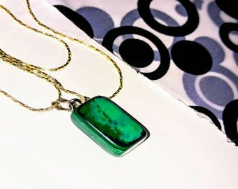 Green Malachite Necklace, Malachite Square Neckalce, Green Healing Stone, Crystal Necklace, Handmade Green Neckalce, Made In Canada