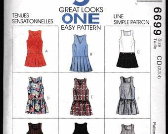 Easy McCall's 6699 Children's and Girls' Jumper and Split-Skirt Jumper