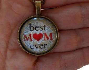"""Best Mom Ever Cabochon Charm 18"""" Necklace//FREE GIFT BOX"""