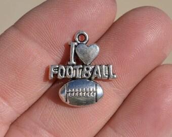 10  I LOVE FOOTBALL Silver Tone Charms SC1985
