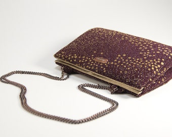 Bordeaux lurex mini purse, handmade handbag with chain strap, one of a kind, upcycled