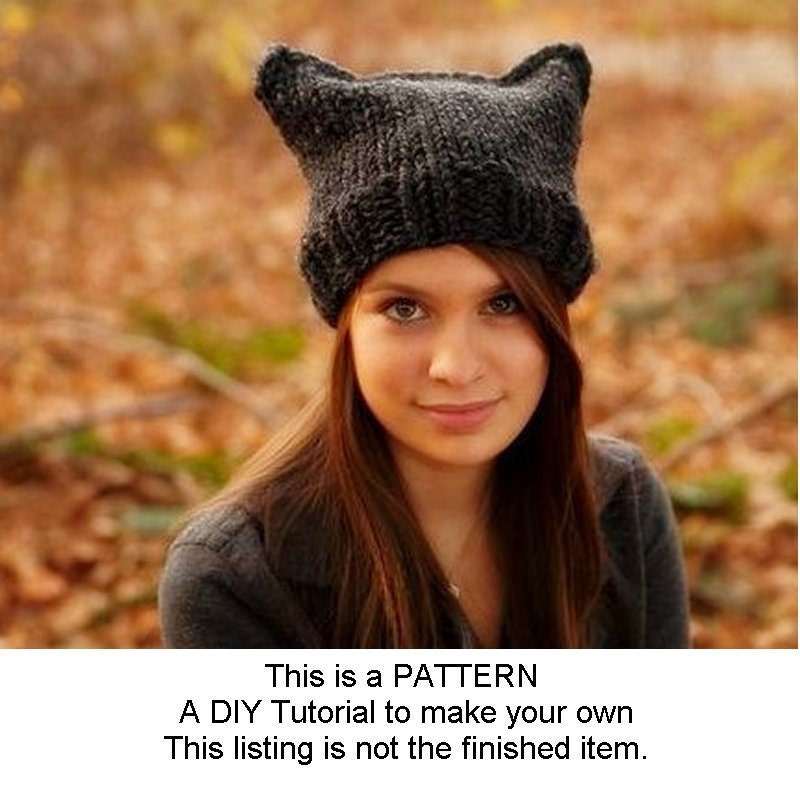 Instant Download Knitting Pattern Knit Hat Pattern for Cat