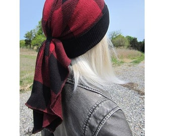 Doo Rag Beanie Buffalo Plaid Black Red Cotton Knit Tie Back Tam Long Oversized Ponytail Hat by Vacationhouse A1126