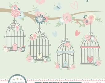 Pastel birdcages , digital printable clipart