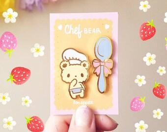 SECONDS SALE Bon Appetit Bear Enamel Pin - Chef Bear and Spoon Lapel Pin Set
