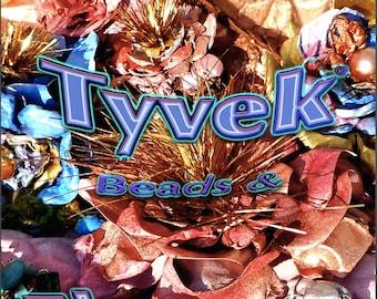 Tyvek art beads Fabric Flowers tutorial a textile fiber art Jewelry Mixed Media tutorial PDF