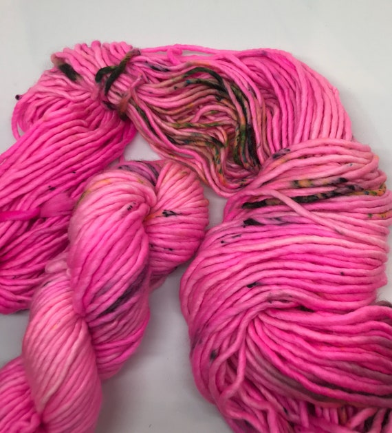 Pia - 100g Super Chunky SW Merino / Nylon Singles, hand dyed in Scotland, neon pink, black green speckles