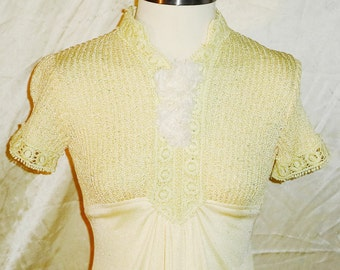 Mad Men Era Vintage Retro Yellow Short Sleeve Full Legnth Dress approx Sz 6