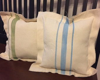 Upcycled Grainsack Oversized Pillow - Choose your colors - Farmhouse Pillow - French Provincial Style - French Country Decor - Fixer Upper