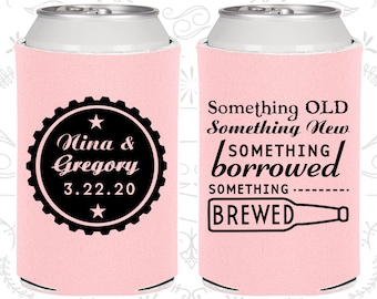 Something Old, Something New, Something Borrowed, Something Brewed, Wedding Gift, Beer Bottle, Custom Can Cooler (265)
