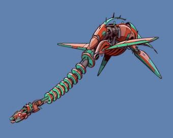 Elasmosaurus Robosaur art print 8x10