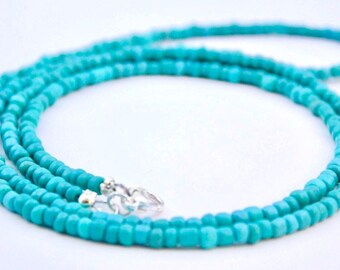 Turquoise necklace - Beaded necklace - Turquoise beaded necklace - Long necklace - Layering necklace - Boho necklace - Long beaded necklace
