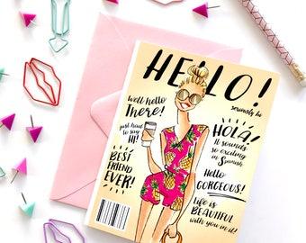 Fashion Card, fashion stationary, hello card, just because card, blank card, fashion office supplies, fashion print