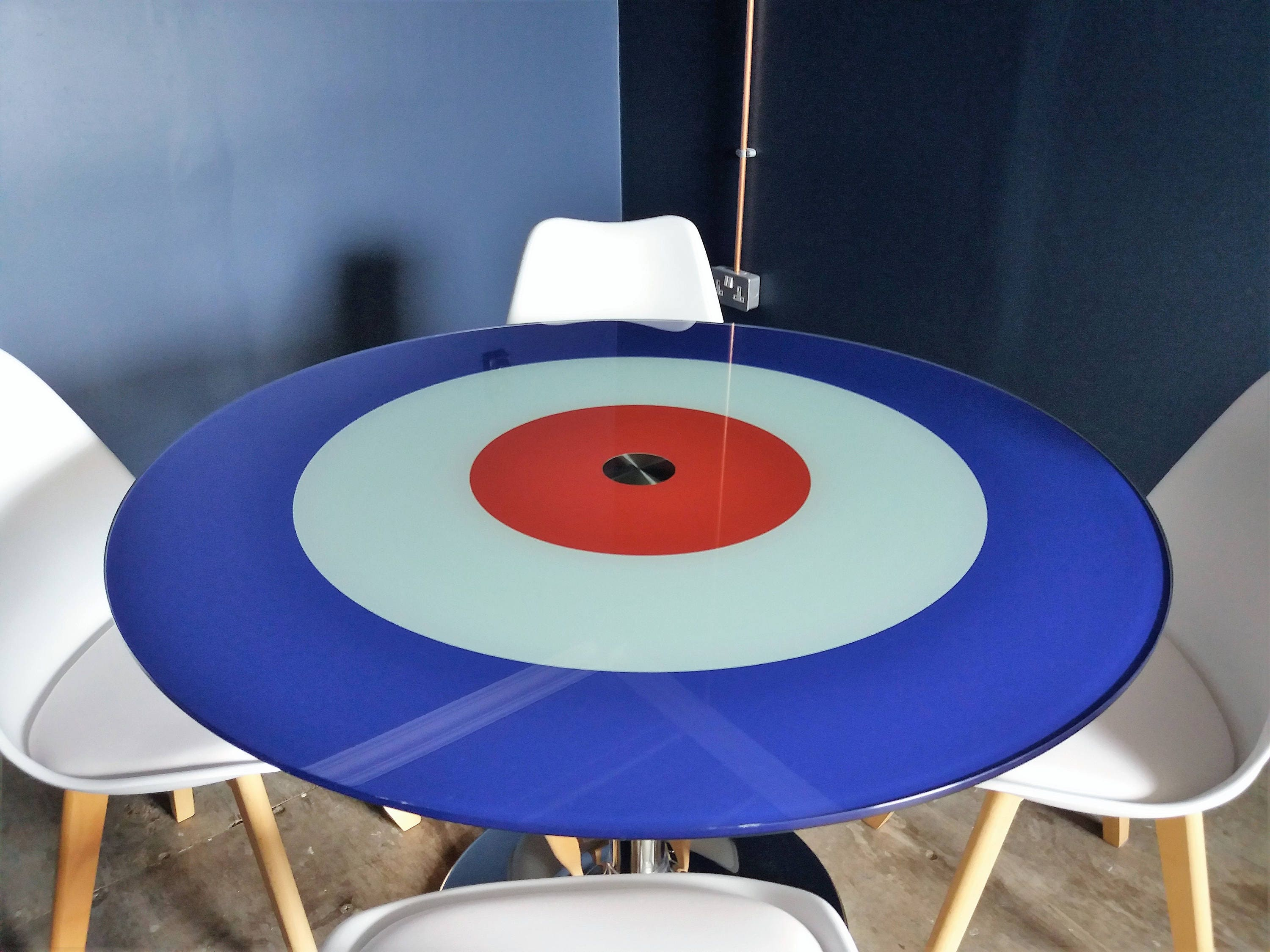 British Roundel Glass Dining Table