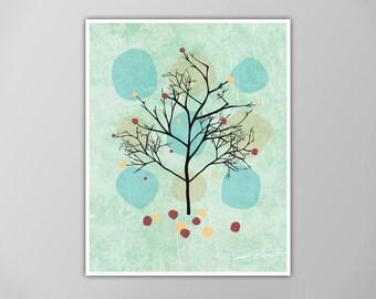 Hello Autumn Art Print, Fall Seasonal Home Decor, Fall Leaves, Autumn Tree, Faux Canvas Texture Print, Falling Leaves Autumn Season Print