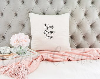 White Pillow Mockup / Pillow Mockup on Tufted Gray Background / Product Background / Digital Download