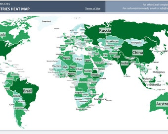 Coloring world map etsy world heat map excel template automatic country coloring gumiabroncs Gallery
