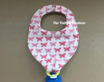Butterfly Pacifier Bib, Pink Butterfly Bib, Binky Bib, Girl Bib, Pacifier Holder, Pacifier Clip, Drool Bib