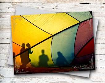 Hot Air Balloon, Note Card, Children Playing, People Shadows, Silhouettes, Yellow, Summertime, Thinking of You, Birthday Card, Youthful