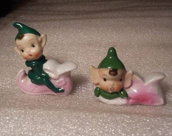 Vintage Hand Painted Set of Christmas Pixie Elves Sitting on Boots Figurines