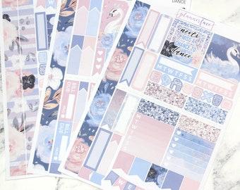Dance | Mini Planner Sticker Kit, Personal Kit, TN Stickers, Ballerina, Ballet, Swans, Ballet Slipper, Glitter, Floral, Flowers, Feathers
