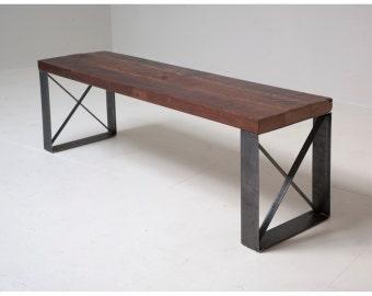 Sleek Modern Industrial Reclaimed Bench / Coffee table